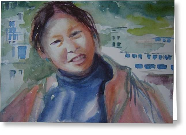Tibetan Woman Greeting Cards - Lhamo-la Greeting Card by Holly Stone
