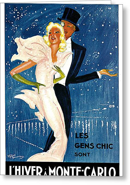 L.a. Woman Greeting Cards - LHiver a Monte-Carlo Greeting Card by Jean-Gabriel Domergue