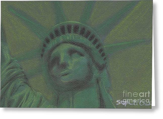 New York City Pastels Greeting Cards - Liberty in Green Greeting Card by Stephen Cheek II