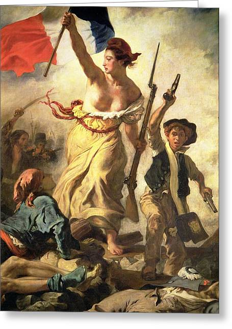 Bayonet Paintings Greeting Cards - Liberty Leading the People Greeting Card by Ferdinand Victor Eugene Delacroix