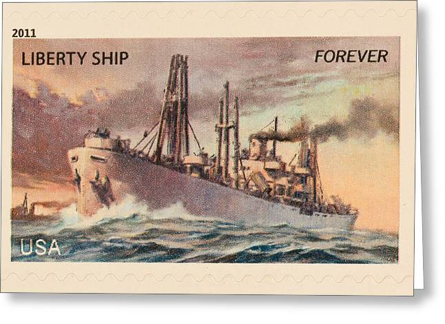 Heidi Greeting Cards - Liberty Ship Stamp Greeting Card by Heidi Smith