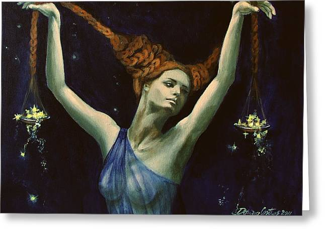Libra from Zodiac series Greeting Card by Dorina  Costras