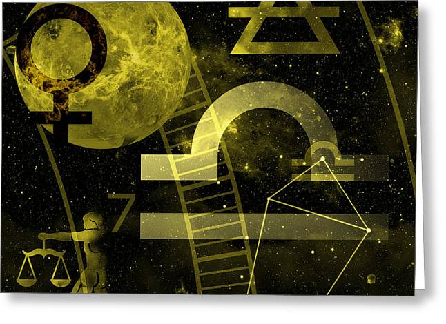 Constellations Digital Art Greeting Cards - Libra Greeting Card by JP Rhea