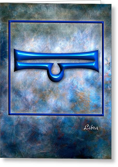 Leaning Pyrography Greeting Cards - Libra  Greeting Card by Mauro Celotti