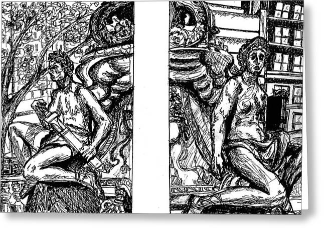 Ink Drawing Greeting Cards - Library Angels Greeting Card by Elizabeth Hoskinson