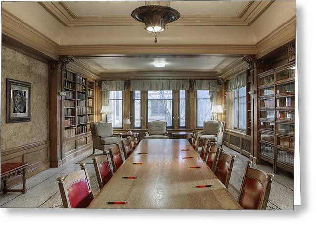 Residential Structure Greeting Cards - Library Long Conference Table Bookcases Greeting Card by Douglas Orton