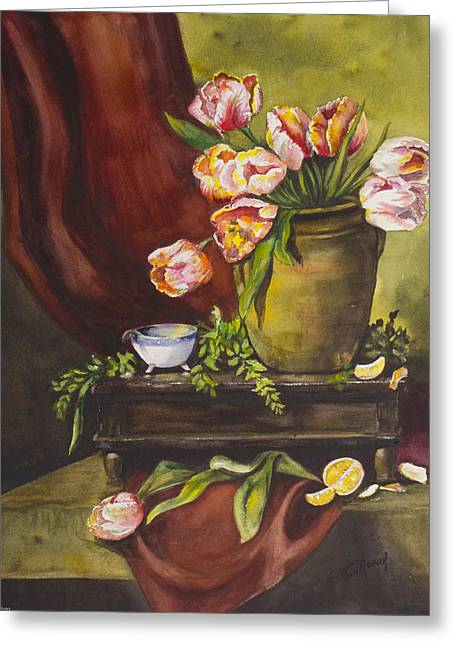 Glass Vase Greeting Cards - Library Table with Tulips Greeting Card by Toni Roark