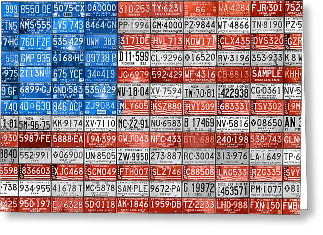 License Plate Flag of the United States Greeting Card by Design Turnpike