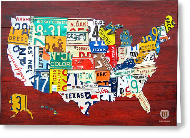 Usa Road Trip Greeting Cards - License Plate Map of The United States - Midsize Greeting Card by Design Turnpike