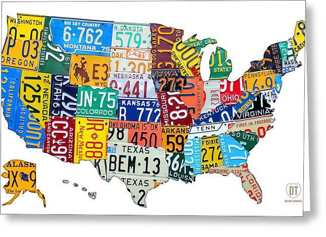 Road Travel Greeting Cards - License Plate Map of The United States Outlined Greeting Card by Design Turnpike