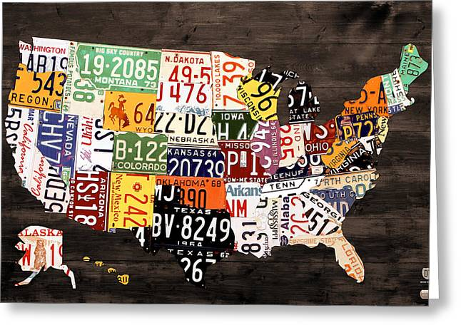 Recycle Greeting Cards - License Plate Map of The United States - Warm Colors / Black Edition Greeting Card by Design Turnpike