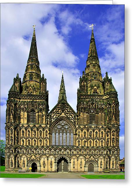 Architecture Greeting Cards - Lichfield Cathedral - the West Front Greeting Card by Rod Johnson