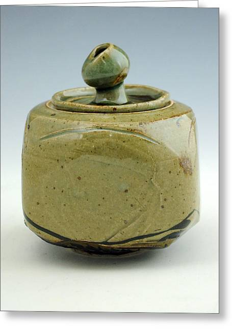 Wheels Ceramics Greeting Cards - Lidded Figure 10 Greeting Card by Alejandro Sanchez