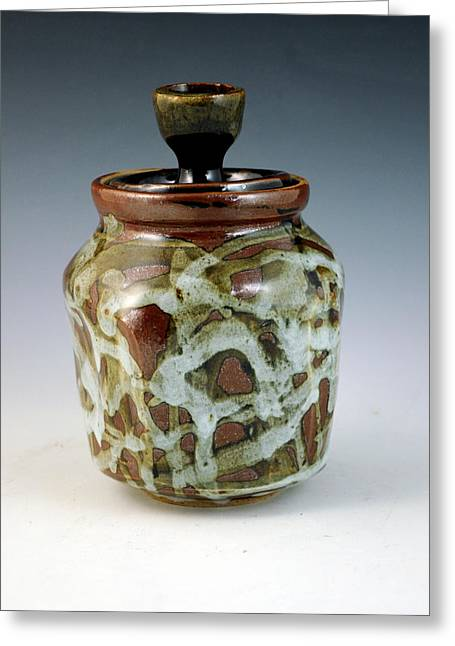 Wheels Ceramics Greeting Cards - Lidded Figure Number 18 Greeting Card by Alejandro Sanchez