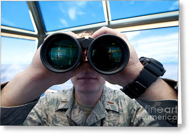 Traffic Control Greeting Cards - Lieutenant Uses Binoculars To Scan Greeting Card by Stocktrek Images