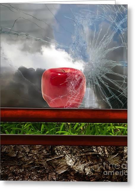 Apple Art Mixed Media Greeting Cards - Life After Man - Conceptual Greeting Card by Georgiana Romanovna