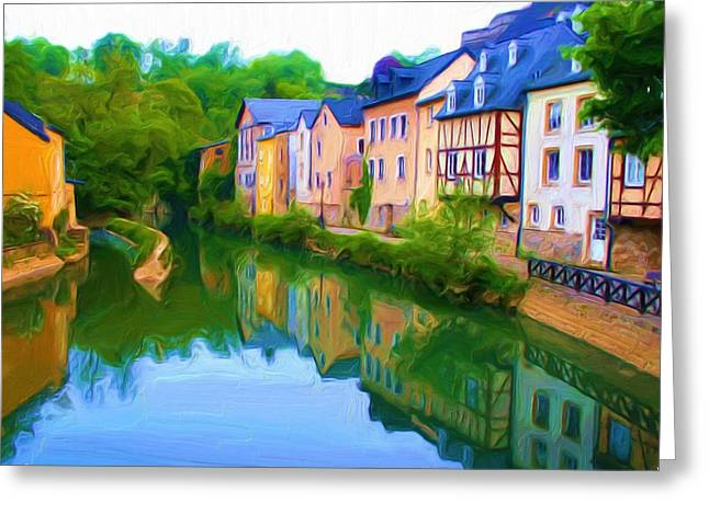 Europe Mixed Media Greeting Cards - Life Along the Alzette River Greeting Card by Dennis Lundell