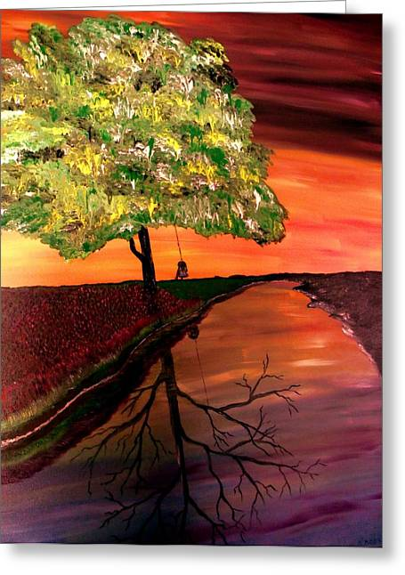 Child Swinging Paintings Greeting Cards - Life and Death Digital Enhanced Greeting Card by Mark Moore