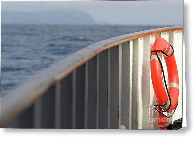 Life Belt On Deck Greeting Card by Sami Sarkis