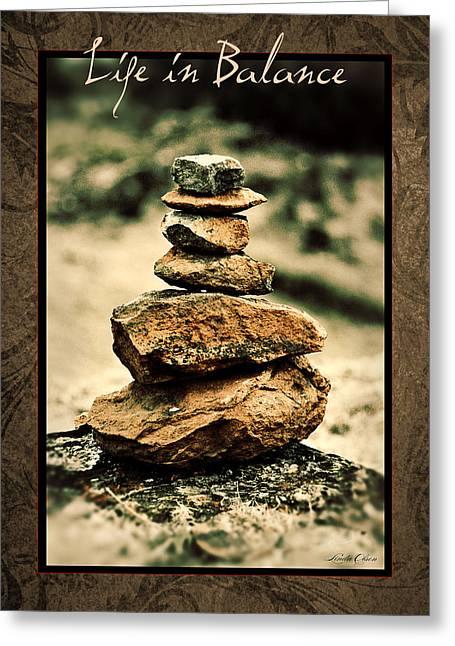 Zen Rock Stacking Greeting Cards - Life in Balance Greeting Card by Linda Olsen