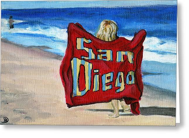 Beach Towel Greeting Cards - Life in San Diego Greeting Card by Debbie Brown