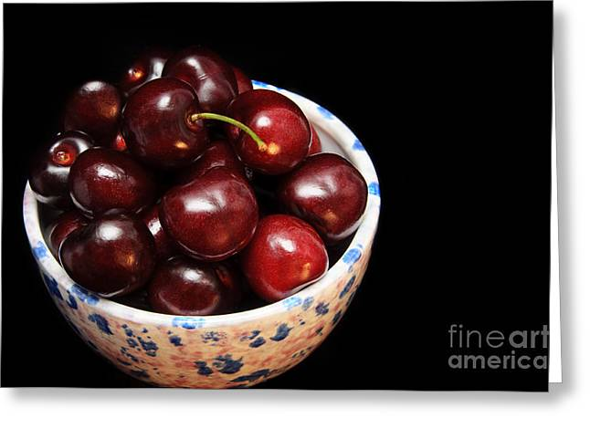 Bowl Of Food Greeting Cards - Life Is Like A Bowl Of Cherries  Greeting Card by Andee Design