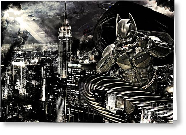 Batman Mixed Media Greeting Cards - Life Line Greeting Card by The DigArtisT