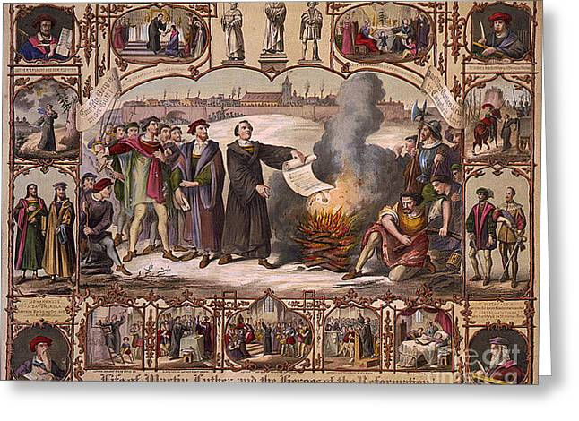 Reformer Greeting Cards - Life Of Martin Luther And Heroes Greeting Card by Photo Researchers