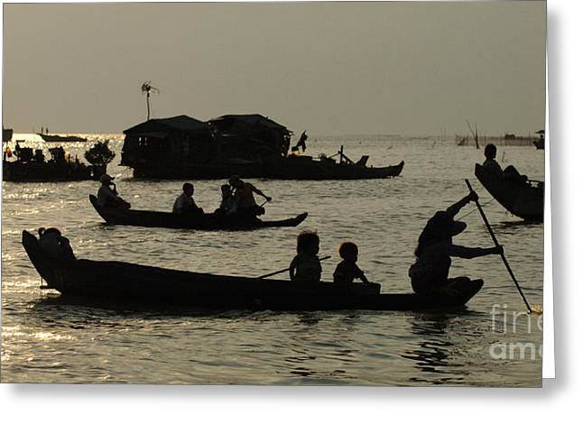 Traveling In Cambodia Greeting Cards - Life On Lake Tonel Sap Greeting Card by Bob Christopher