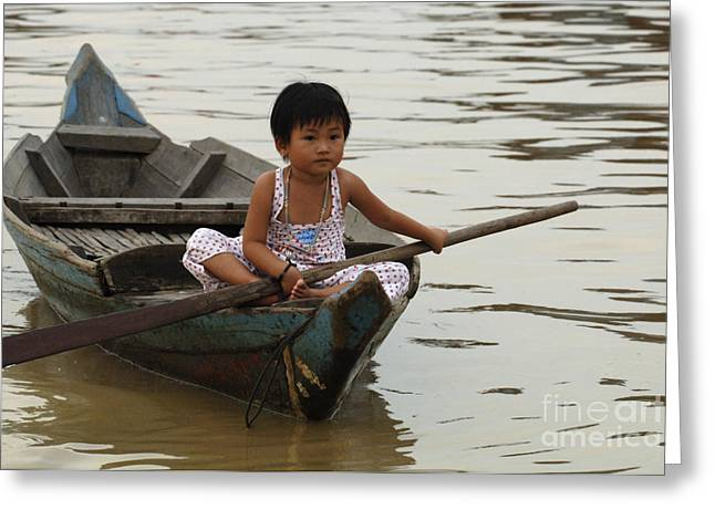 Traveling In Cambodia Greeting Cards - Life On Lake Tonle Sap 2 Greeting Card by Bob Christopher