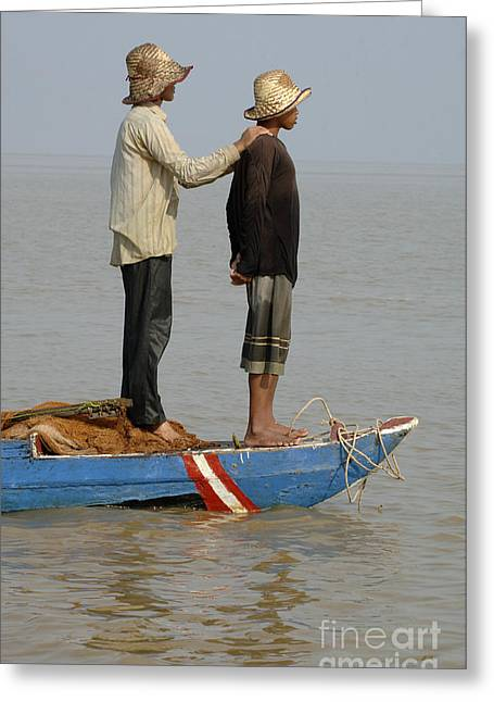 Traveling In Cambodia Greeting Cards - Life On Lake Tonle Sap 4 Greeting Card by Bob Christopher