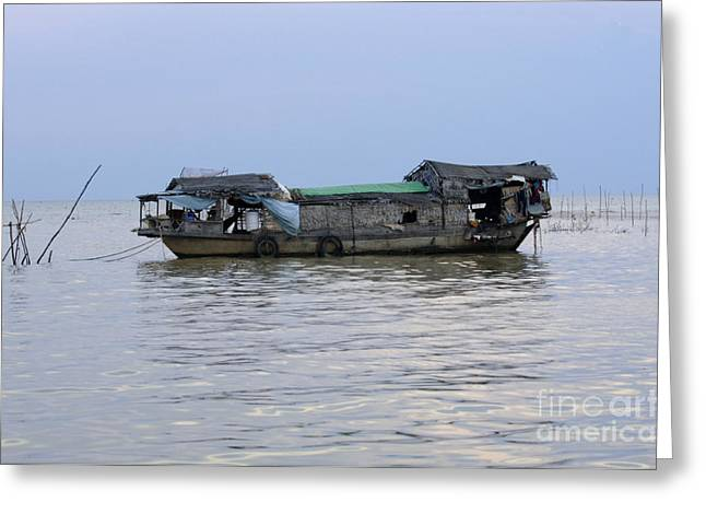 Traveling In Cambodia Greeting Cards - Life On Lake Tonle Sap 6 Greeting Card by Bob Christopher