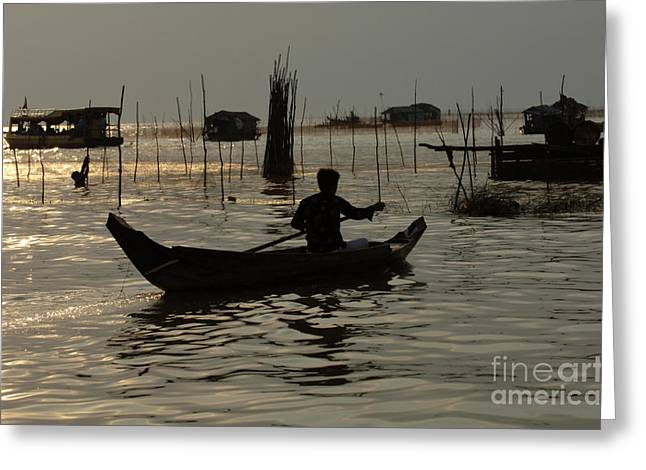 Traveling In Cambodia Greeting Cards - Life On Lake Tonle Sap 7 Greeting Card by Bob Christopher