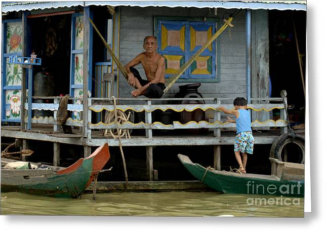 Traveling In Cambodia Greeting Cards - Life On Lake Tonle Sap 8 Greeting Card by Bob Christopher