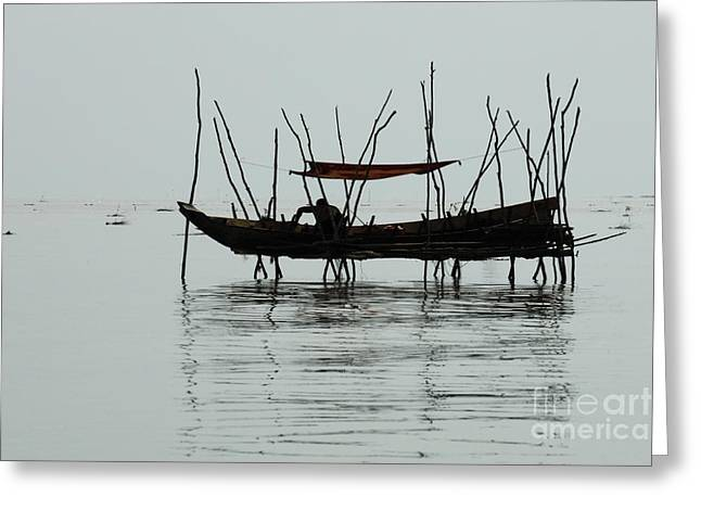 Traveling In Cambodia Greeting Cards - Life On Lake Tonle Sap  Greeting Card by Bob Christopher