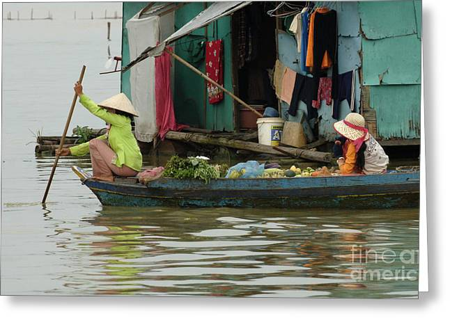 Traveling In Cambodia Greeting Cards - Life On Lake Yonle Sap 9 Greeting Card by Bob Christopher