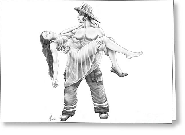 Rescue Drawings Greeting Cards - Life saving Greeting Card by Murphy Elliott