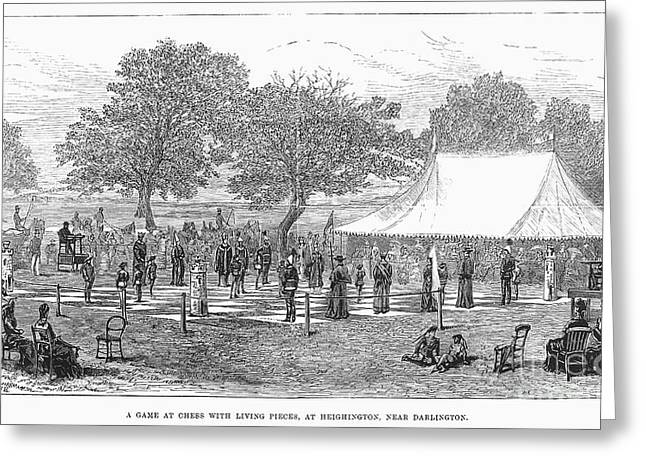 LIFE-SIZED CHESS, 1882 Greeting Card by Granger