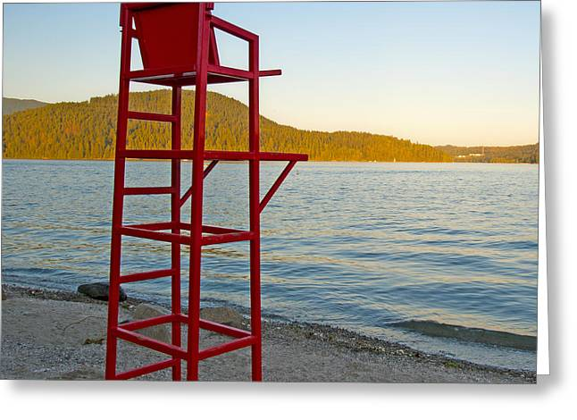 Empty Chairs Greeting Cards - Lifeguard Chair at the Beach Greeting Card by Marlene Ford