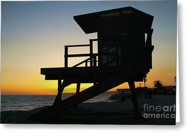 Lifeguard Silhouette Greeting Card by Mariola Bitner
