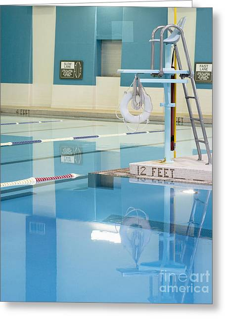 Recreational Pool Greeting Cards - Lifeguard Stand and Pool Greeting Card by Andersen Ross