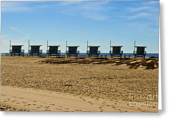 Lifeguard Stand's On The Beach Greeting Card by Micah May