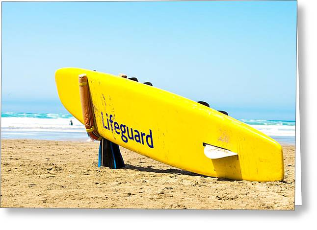 Boarding Greeting Cards - Lifeguard surfboard Greeting Card by Tom Gowanlock