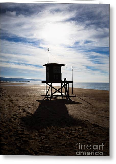 California Beach Image Greeting Cards - Lifeguard Tower Newport Beach California Greeting Card by Paul Velgos