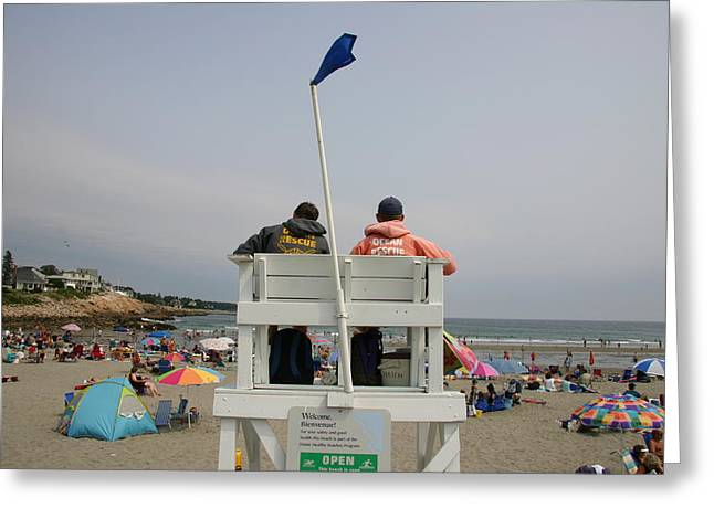York Beach Greeting Cards - Lifeguards Watch Over The Traditional Greeting Card by Stephen St. John