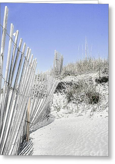 Sand Fences Photographs Greeting Cards - Lifes A Beach 3 Greeting Card by Sari Sauls