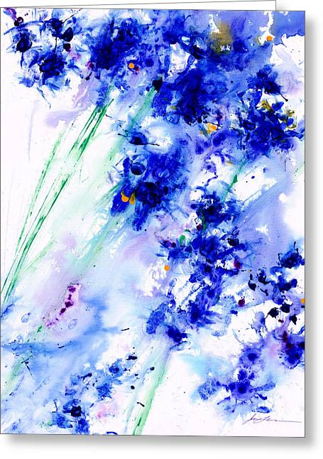 Flower Greeting Cards - Lifes Drama Blue Greeting Card by Jerome Lawrence