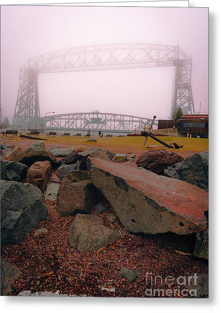 Lift Bridge In Spring Fog Greeting Card by Mark David Zahn