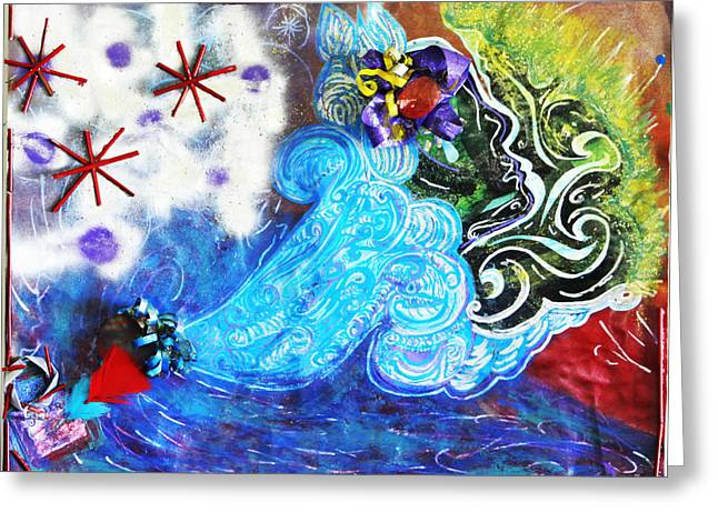 Blue Green Water Greeting Cards - Lifting Greeting Card by Dre Irey