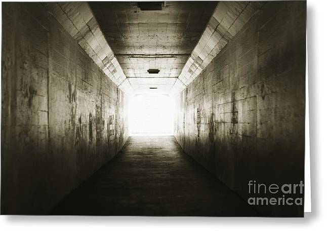 Sports Arenas Greeting Cards - Light at the end of a Tunnel Greeting Card by Tim Hawley